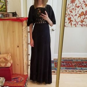 Vintage '70s Embroidered Crochet Maxi Dress XS-S